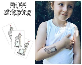 "Set of 3 tatts ""Rapunzel"". Fairy tale longhair girl in tower kids temporary tattoos. Party bag supply. TT123"