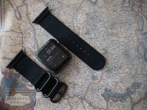 Apple watch original, series 1, series 2 band: Nato/zulu strap 2-piece Apple watch / Apple watch band (black), Free Shipping Worldwide!
