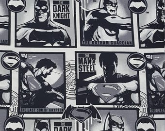 Batman and Superman Fabric- Fabric by the Yard