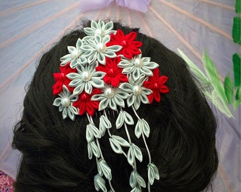 Geisha style handcrafted Kanzashi hair comb