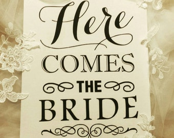 Here comes the bride, wedding, sign, canvas, bride, here comes mummy, page boy sign, flower girl sign, sign to announce bride, custom
