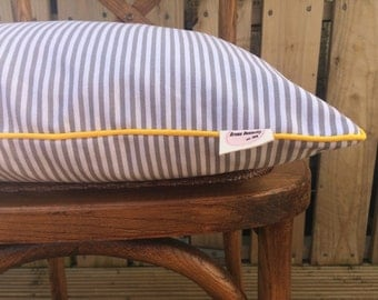 Scandi Grey Stripe Cushion Pillow Cover with Mustard Trim, English Cotton,