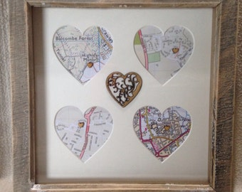 Personalised map gift frame, engagement map gift, anniversary gift, wedding gift, heart map gift, map frame, map gift , paper anniver