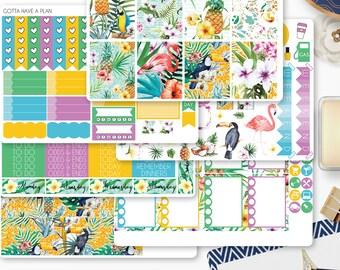 Planner Stickers Tropical Summer Vacation Weekly Kit for Erin Condren, Happy Planner, Filofax, Scrapbooking