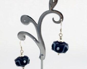Navy blue earrings / lamp work earrings / navy drop earrings / everyday earrings / bohemian earrings / birthday gift for sister