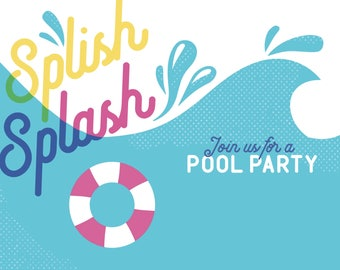 Instant Download, Pool Party invitation, digital invitation, party invite template, 4x6 or 5x7 printable card