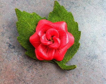 Vintage Leather Brooch - Red Leather Rose - Sweater or Coat Jewelry - Gift for Her