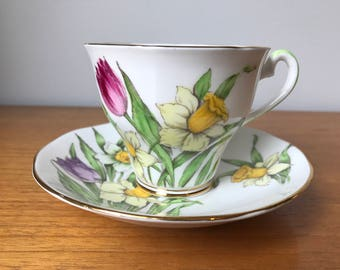 "Salisbury ""Tulips and Daffodils"" Vintage Teacup and Saucer, Pink Purple Flower Tea Cup and Saucer, Hand Painted Bone China"