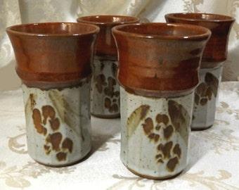 Mid Century Modern 4 Tumblers Signed Impressed Mark Studio Art Pottery/Stoneware Artisan Drinking Glasses