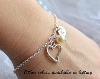Bridesmaid bracelet set of 7 Personalized Bridesmaid gift set of 7 Heart bracelet Wedding jewelry Bridesmaid jewelry bridesmaid gift set
