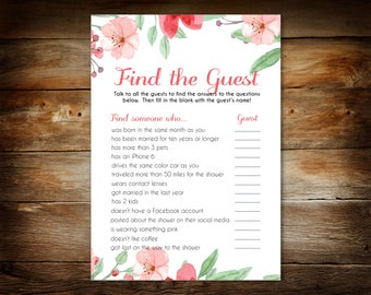 Baby Shower Game - Find the Guest Game Printable - Baby Shower Guest Game - Digital Instant Download - 0035