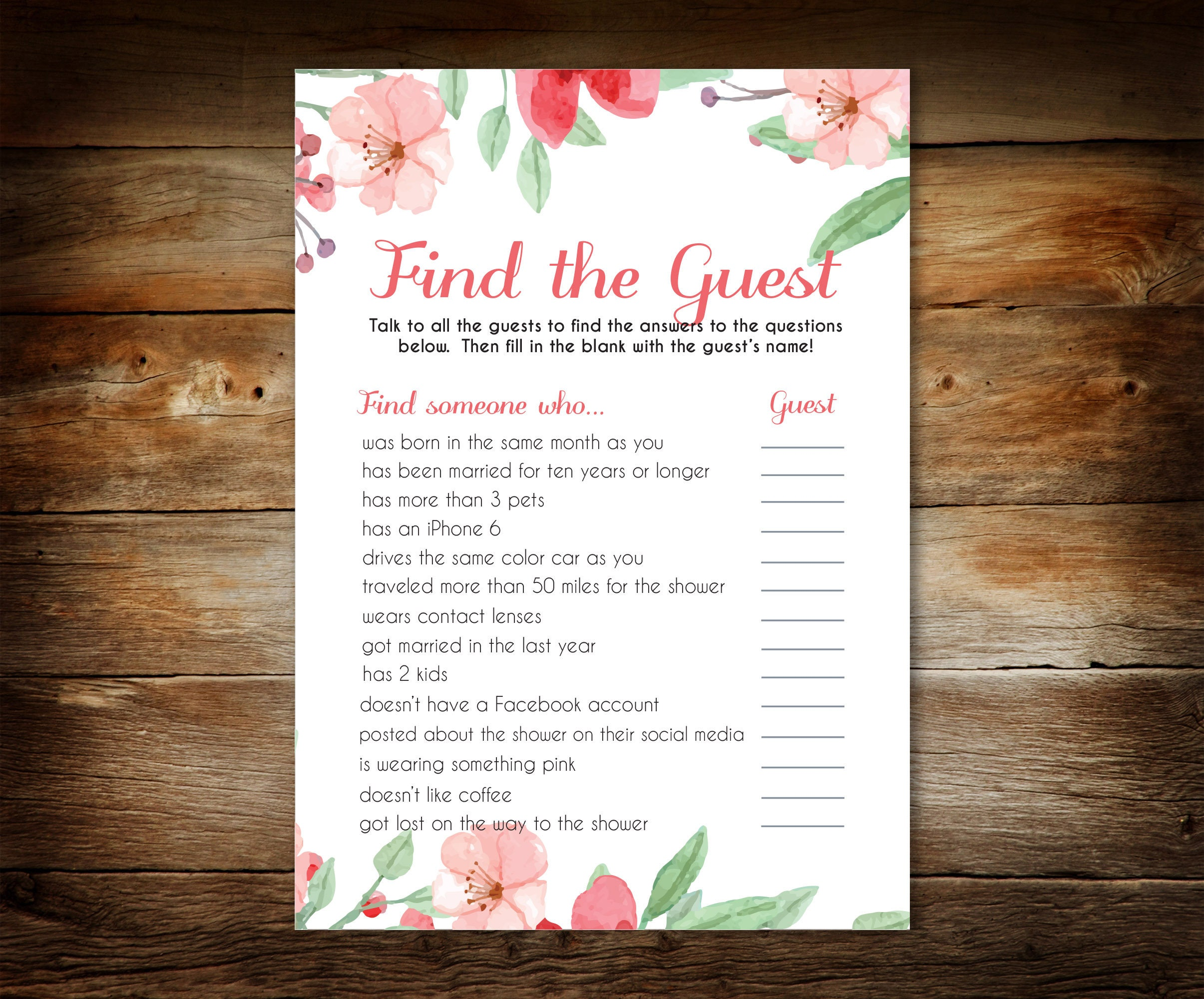 Baby Shower Game Find the Guest Game Printable Baby Shower