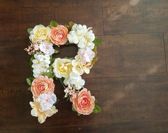 Flower Letter. Number. Baby Nursery. Wedding Decor. Room Decor. Wall Hanging. Floral wall hanging.