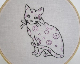 Purple Spotted Cat Embroidery Hoop Art