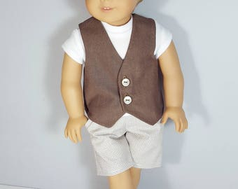 18 inch boy doll clothes - brown vest