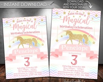 Unicorn Invitation, Unicorn Birthday Invitation, Unicorn Invite, Pastel Rainbow, Pink and Gold, Magical, Instant Download, Editable PDF #512