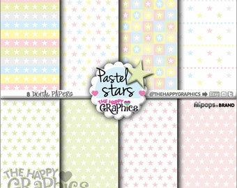 80%OFF - Star Digital Paper, COMMERCIAL USE, Star Pattern, Printable Paper, Star Paper, Star Party, Star Celebration, Paper Pack, Pastel