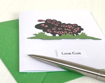 Love Ewe Card - Sheep Card - Handmade Greeting Card - Valentine's Day Card - Romantic Card - Cute Card