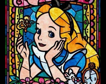 BUY 2 GET 1 FREE!Alice in Wonderland  Stained Glass 094Cross Stitch Pattern Counted Cross Stitch Chart, Pdf Format, Instant Download /192275