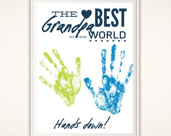 Grandpa Gifts - Fathers Day Grandpa Gift from Grandkids, PRINTABLE Handprint Art, Gift for Grandpa, DIY Handprint Art, Grandad Birthday Gift