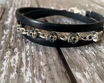 Leather and sterling silver skull wrap bracelet