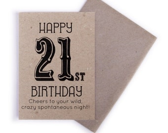21st Birthday Card - Birthday Card, Happy 21st Birthday, Cards, Recycled Card, Greeting Cards, Vintage Style, Gift Cards
