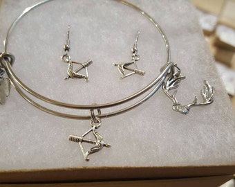 Archery hunting bracelet and earring set