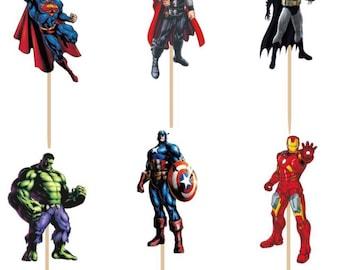 Superhero  Avenger cupcakes topper 12pcs, double sided picture- Avenger-Hulk-superman-captain america-Batman. Same day shipping