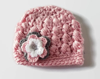 Baby Beanie with Flower - Pink