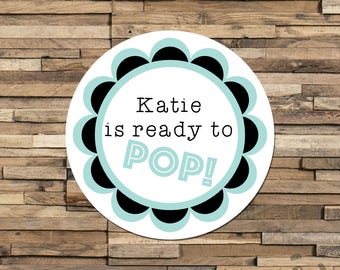 Personalised Baby Shower Stickers, Ready to Pop Stickers, Baby Shower Labels, Baby Shower Favour, New Baby, Baby Shower Ideas