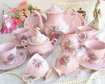 RESERVED - Vintage tea set porcelain tea set  vintage tea set for six tea cup set porcelain teacup set pink porcelain teaset coffee cup