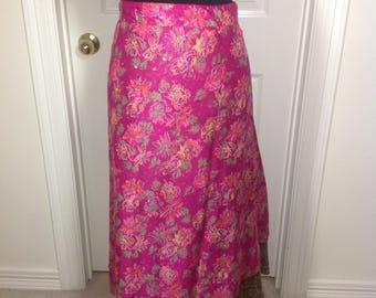 Reversible Sari Skirt - Fuschia Floral & Olive Green Ethnic - 27