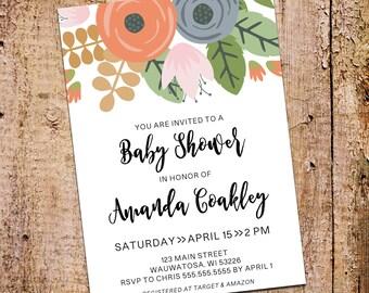 5x7 Vintage Flowers Baby Shower Invitation Printable