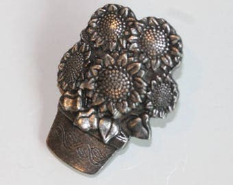 Signed Birds & Blooms Ltd. Ed. 2006 pewter potted sunflowers pin brooch