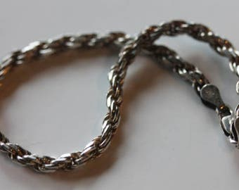 Italy vintage sterling silver rope chain bracelet