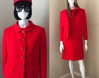 60's MOD Designer Dress Suit, Jackie O Princess Dress and Jacket, Bardley MOD Dress Suit, Classic Chic Red Wool 2-Piece Suit,  Size M