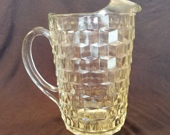 WHITEHALL FOSTORIA PITCHER American Clear Glasses Whitehall Ice Lip Water Beverage Cubist 1960's Vintage Retro