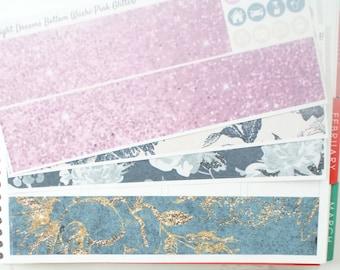 Midnight Dreams Vertical Bottom Washi Planner Stickers (NF064) High Gloss, Semi-Gloss, Matte Planner Stickers