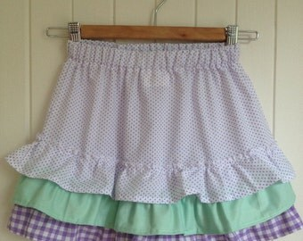 Size 8  Girls Summer Skirt in purple poka dots and flounces