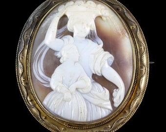 Victorian Carved Shell Dionysus Cameo Brooch Circa 1880