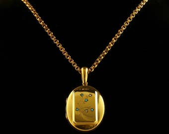 Antique Victorian Gold Locket and Necklace Turquoise Stones Circa 1880