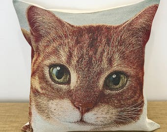 """Cat Cushion Cover on Thick Tapestry Fabric. Cat Decorative Throw Pillow. 18"""" (45cm). Cushion Covers Australia. Cat gift"""
