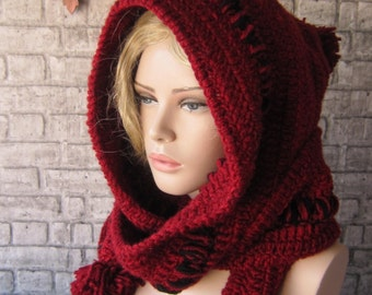 EXPRESS SHIPPING/Red Hoodded scarf/ crochet Hood, İnfinity hooh, chunky womens hood scarf, womens accessories