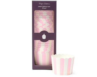 Baking Cups | Pink Stripe Baking Cups | Premium Quality Paper Baking Cups | Snack Cups | Candy Cups | Party Supplies | The Party Darling