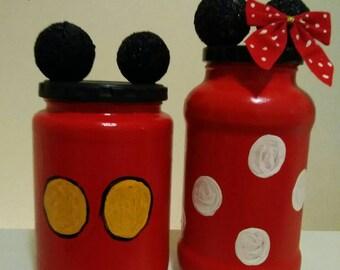 Mickey and Minnie inspired Jars