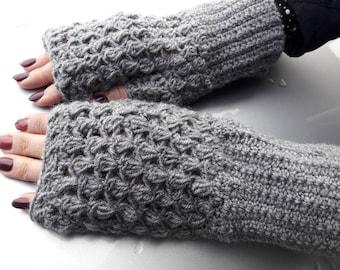 Handmade fingerless gloves. Crochet fingerless gloves. Elegant fingerless gloves. Gray fingerless gloves.