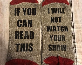 If you can read this socks - READY to Ship - funny socks - Christmas - Adult Socks