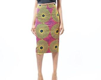 Ankara Full Circle Gold & Pink Midi Pencil Skirt