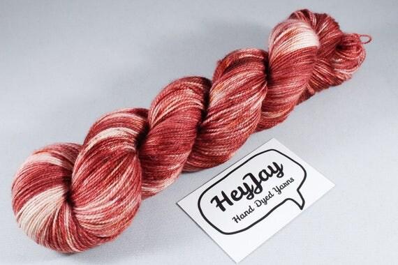 Hand Dyed Sock Yarn High Twist Superwash Merino/Nylon - Rust