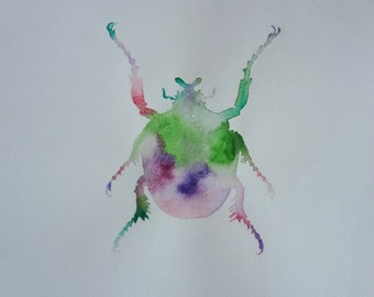 Original Customisable Insect Watercolor Painting nr5/ Hand Painted Flowing FunBug Wall Art / Any Colour Combinations